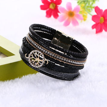 Bohemian Style Multilayer Leather Bracelets Life of Tree Charms Wrap Bangles & Bracelets with Magnet Clasp
