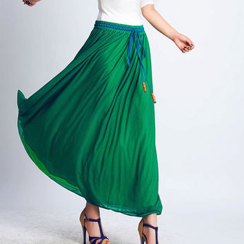 Green chiffon maxi dress (0126)