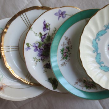 Set of 5 Mismatched Small China Saucers - Bridal Shower, Tea Party, Wall Decor