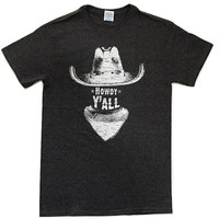 Howdy Y'all Cowboy Vintage T-Shirt Funny Humor Novelty Tee - Unisex Adult S - 2XL