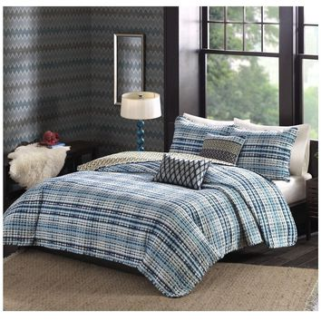 Tie Dye Blue Striped Bedding Quilt Set
