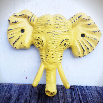 Bright Sunny Yellow Shabby Distressed Cast Iron Elephant Head Wall Hook - Jungle Safari Animal