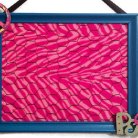 Jewelry organizer hair bow photo display holder wire hooks board pink zebra turquoise blue frame embellish peace sign custom orders welcome