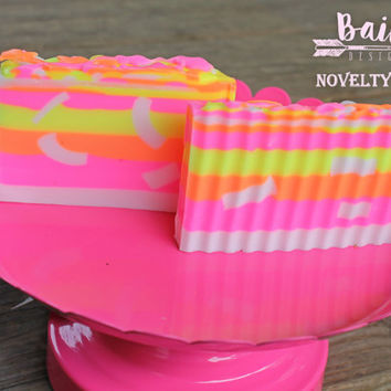 pink and orange soap, neon soap, pink swirl soap, royal soap, bahama moma soap, neon layers, luxury soap bar, tropical soap, heavenly scent