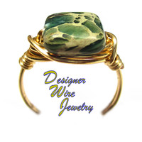 DWJ0560 Ocean Inspired Sea Sediment Gold Wire Wrapped Ring All Sizes