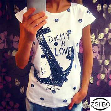 ZSIIBO Summer Tops Tee ladies short t shirt women Boat anchor t-shirt dress  female tshirt woman clothes plus size Ukraine