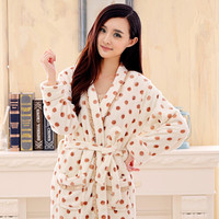autumn & winter robe female thickening coral fleece sleepwear women flannel bathrobe female bathoses lounge 2 piece set