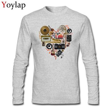 Music In Love Men Novelty Design Fashion Clothing Cotton T-shirt Tops & Tees Long Sleeve Casual Style