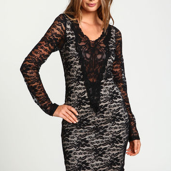 Plunge Lace Embroidered Dress