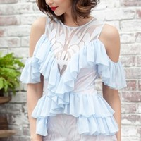 O-Neck Ruffles Strapless Patchwork Playsuit