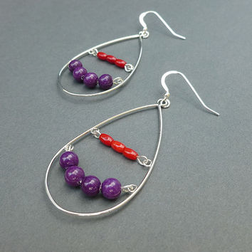 purple mountain jade and coral abacus hoop earrings in silver