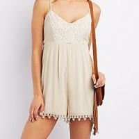 EMBROIDERED MESH SLEEVELESS ROMPER