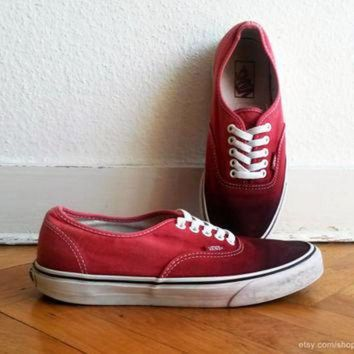 CREYONS Blood red ombre Vans Authentic sneakers, upcycled vintage shoes, size US Men's 9 (US W