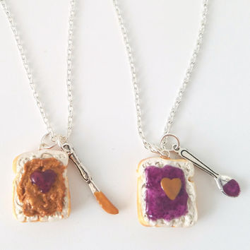 Miniature Cute BFF Peanut Butter Grape Jelly Heart Necklace Set with knife and spoon- Best Friend Forever