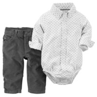 2-Piece Oxford Bodysuit & Corduroys Set