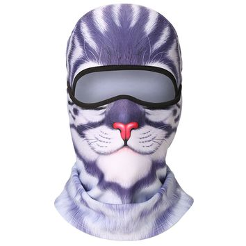 KAITUO 3D Animal Fleece Neck Warmer Windproof Full Face Mask Balaclava for Cold Weather Winter Outdoor Motorcycle Cycling Hunting Snowboard Ski Halloween (Blue Coffee)