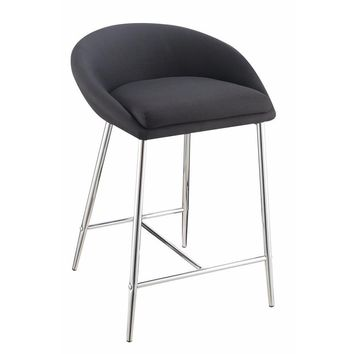 Aesthetic Metal  Counter Height Stool, Black, Set of 2