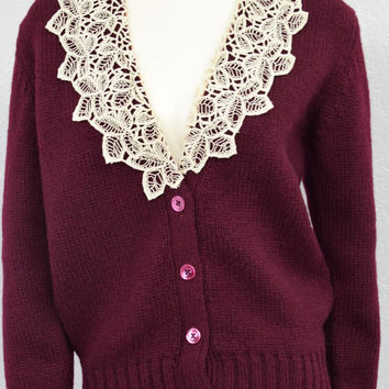 Vintage 80s Maroon Crochet Lace Collar Oversized Cardigan Sweater, Chunky Knit Wool Cardigan, Size M