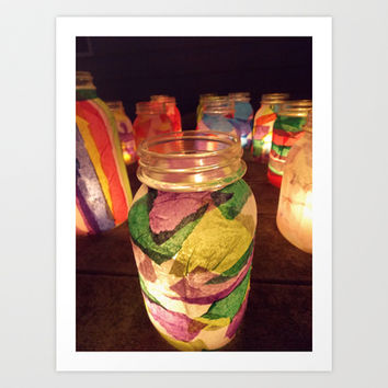 Light Up The World With Mason Jars Art Print by Oksana's Art