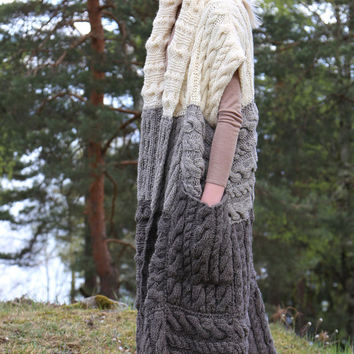PDF pattern. Hand knitted long chunky vest with pockets. Digital pattern from Ilze Of Norway.