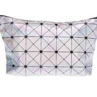 Geometric Silver Faux Leather Zippered Cosmetic Make up Bag Organizer