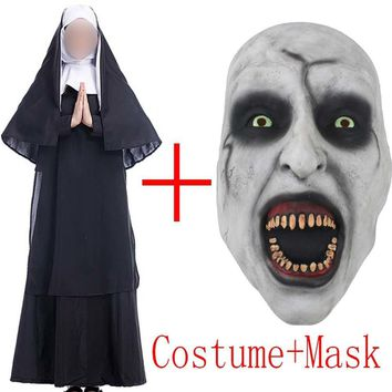 Cool 2018 Movie The Nun Costume Mask Cosplay Adult Long Black Scary Nuns Ghost Clothes Uniform Horror Halloween Party Costume PropsAT_93_12