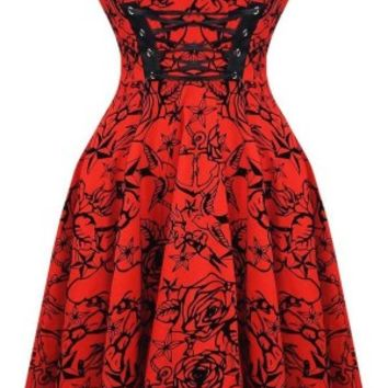 Charmant Dress in Red by Hearts & Roses, London