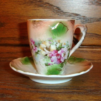 Vintage Demitasse Teacup and Saucer, Petite Hot Chocolate Cup, Hand Painted Porcelain Tea Cup, Gold Pink Yellow Flower Floral, Peach Green