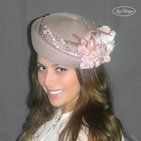 LISSA an Antique Rose Reconstructed Handmade Parasisal Straw Vintage Pill box Hat With Vintage Flowers