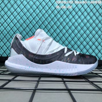 HCXX B308 Under Armour Curry 5 Actual Combat Basketball Shoes White Orange