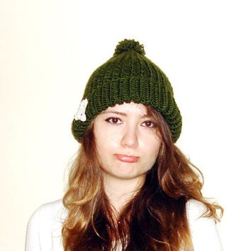 Green Hand Knitted pompom hat witn snowflake crochet doily lace , chunky beret hat,