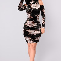 Kalista Velvet Dress - Taupe/Black
