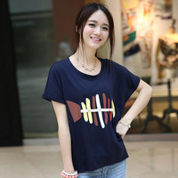XXL T Shirt Women Summer Harajuku camisetas fish bone Kawaii Tops O-neck Casual Tee shirt