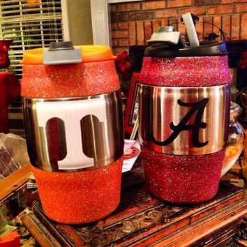 College Football Inspired Glittered Mugs