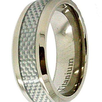 CERTIFIED 8mm Titanium & White Carbon Fiber Ring Wedding Band