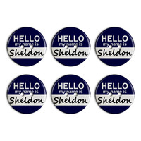 Sheldon Hello My Name Is Plastic Resin Button Set of 6