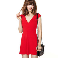 Red V-Neck Sleeveless Skater Dress