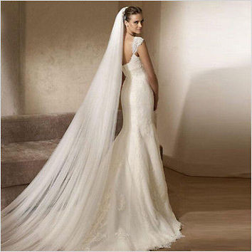 Cathedral Bridal White/Ivory 2 Layer 3M Soft Wedding Veil With Comb HU