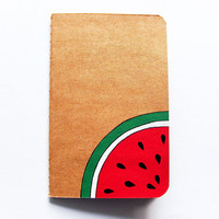 Handpainted notebook, decorated journal with a watermelon slice, diary notebook, recipes book, back to school notebook gift, made to order