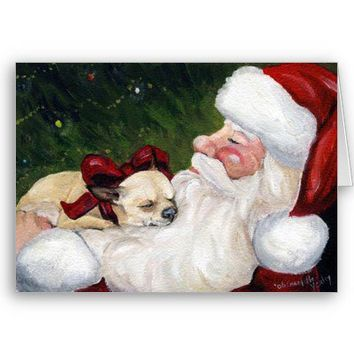 """""""Chihuahua Cozy Christmas"""" Dog Art Greeting Card from Zazzle.com"""