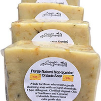 4 Bars ~Purely Natural Organic Soap, Unscented, Cruelty Free, Vegan, Hypoallergenic, Free of Dyes, Perfumes, Harsh Chemicals, Cold Processed