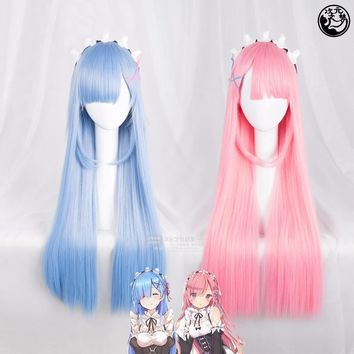 Re:Life in a different world from zero Cosplay Wig Ram Rem Pink Blue 80cm Long Straight Synthetic Hair for Adult