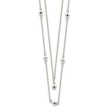 "Sterling Silver Black And White CZ Stars Layered 16"" Necklace"
