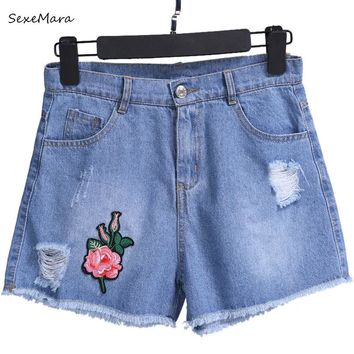 2017 Denim Shorts Embroidery Curling Short Jeans Summer Ripped Womens Cotton Straight Shorts Flower Pantalones Cortos Mujer