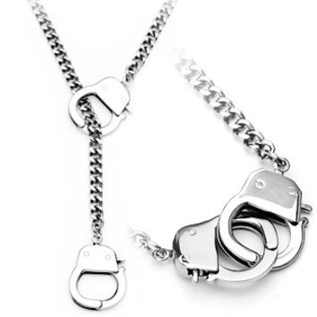 Under Arrest Necklace – Fun novelty silver stainless steel handcuff design necklace