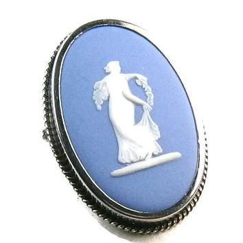 1963 Blue Wedgwood Cameo Brooch or Pendant  Collectible Oval Shaped 1.5 x 1 Inch Set in Sterling Silver Creator Stamped Made in England #010