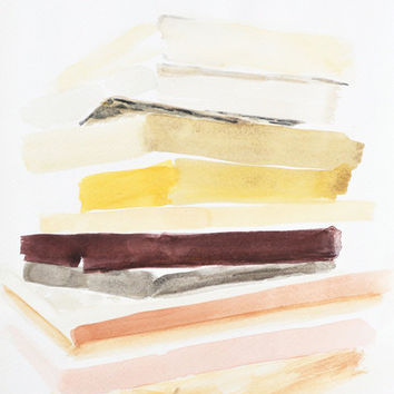 Stripes, Plausibly Static. Fine art print, minimal abstract watercolor painting. Archival paper or Canvas. Yellow, white, beige, brown, pink