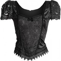 Shop: classic goth women's top by Sinister, puff sleeves
