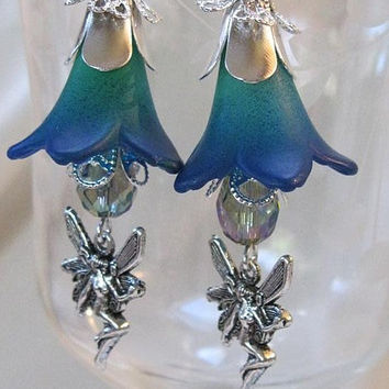 Lucite Flower Fairy Earrings Hand Dyed and Painted Cobalt Blue/Green Vintage Style Mothers Day SALE 50% OFF