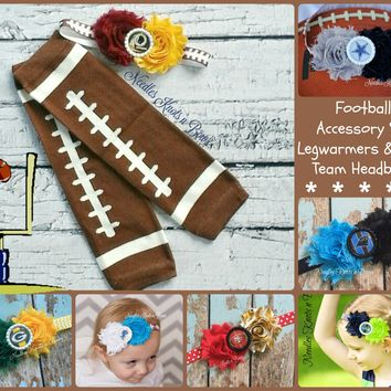 Football Legwarmers & Team Headband Set, Girls Football Team Accessory Set, Football Legwarmers